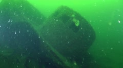 The approach to the wheelhouse of the wreck . Stock Footage