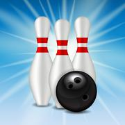 Skittles and Bowling Ball Background - stock illustration