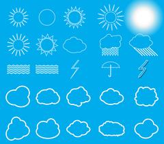 Set of symbols: Sun, Clouds, Thunderstorm, Umbrella. Vector Illu - stock illustration