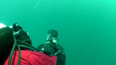 Diver on underwater scooter. Stock Footage