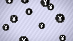 Falling yen icons. Looping. Alpha channel. - stock footage