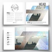 Set of square design brochure template. Abstract colorful polygonal backdrop - stock illustration