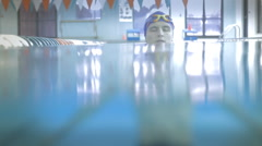 Young Male Swimmer Resting In Lap Pool Stock Footage
