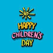 1 june international childrens day background - stock illustration