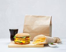 Fast food take away. Hamburger, cola and fries - stock photo