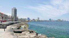 Havana Cuba Skyline Malecon Coast - stock footage