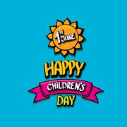 1 june international childrens day background - stock illustration