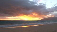 Hawaiian Island Beach Sunset Time Lapse Stock Footage