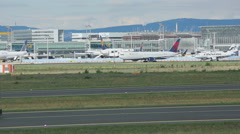 Towing airplane, Frankfurt airport Stock Footage
