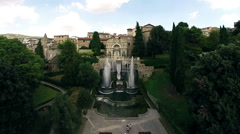 Aerial, Villa d'este in Rome. Drone video. Camera go away. N. Stock Footage