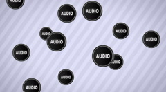 """Falling """"AUDIO"""" icons. Looping. Alpha channel. - stock footage"""