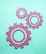concept made of drugs and pills, in the shape of gears. - stock photo