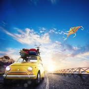 3D rendering of holiday on the road Stock Illustration