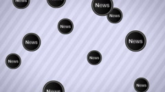 "Falling ""News"" icons. Looping. Alpha channel. Stock Footage"
