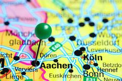 Aachen pinned on a map of Germany Stock Photos