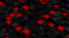 Red and black 3D boxes. Loopable abstract background. 4k UHD (3840x2160) Stock Footage