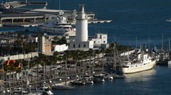 Sport port, docks and Lighthouse in Malaga port Stock Footage