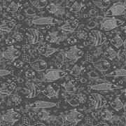 Background of underwater world. Seamless pattern with cute fish, shells, corals - stock illustration