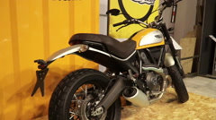 Motorcycle ducati scrambler new model Stock Footage