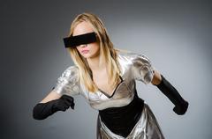 Tech woman in futuristic concept Stock Photos