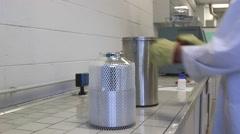 Scientist pour Liquid nitrogen Stock Footage