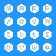 line web icon set on white hexagon - stock illustration
