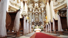 Interior of old baroque church. Dominican cathedral in Lviv Stock Footage