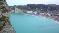 Etretat city line above English Channel, beautiful view of buildings from cliffs Stock Footage