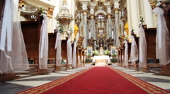 Interior of old baroque church. Dominican cathedral in Lviv - stock footage