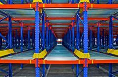 Warehouse storage, rack systems Stock Photos