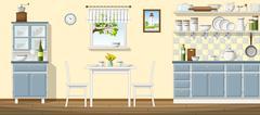 Illustration of a classic kitchen - stock illustration