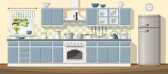 Illustration of a classic kitchen Stock Illustration