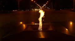 Ungraded: Eternal Flame Burning at Night on Victory Square in Minsk, Belarus Stock Footage