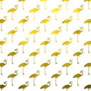 Gold White Flamingos Pattern Flamingo Polk Dots Background Texture - stock illustration