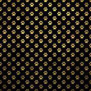 Gold Black Dog Paw Metallic Foil Polka Dot Texture Background Pattern - stock illustration