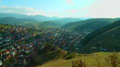 Town and municipality Gusinje in the valley of the mountain in Montenegro Stock Footage