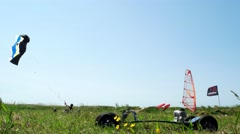 Paulo Baptista on a kite buggy Stock Footage