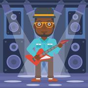 Musician playing electric guitar - stock illustration