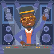 Smiling DJ with console Stock Illustration