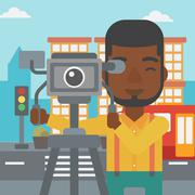 Cameraman with movie camera on a tripod - stock illustration