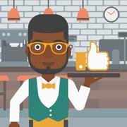Waiter with like button - stock illustration