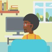 Man watching TV - stock illustration