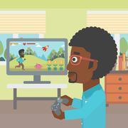 Man playing video game Piirros