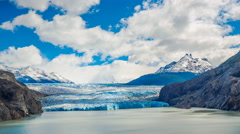 Clouds flow over  the Gray Glacier at Gray Lake Stock Footage
