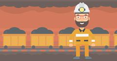 Confident miner in hardhat Stock Illustration