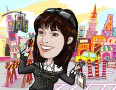 Girl shopping, on phone in manhattan new york city - stock illustration