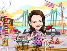 girl tea time in manhattan new york city - stock illustration