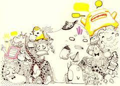 Cartoon characters illustration Stock Illustration