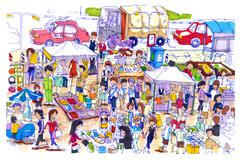 Lively and colorful flea or Sunday market in Asia Stock Illustration