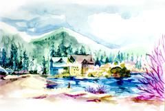 Resort by the lake in mountain illustration Vacation holiday house Piirros